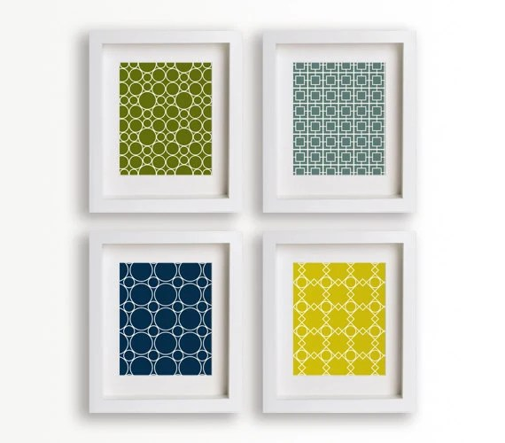 Mid Century Modern Lattice Inspired Art Prints - Set of Four 5x7s (coastal)
