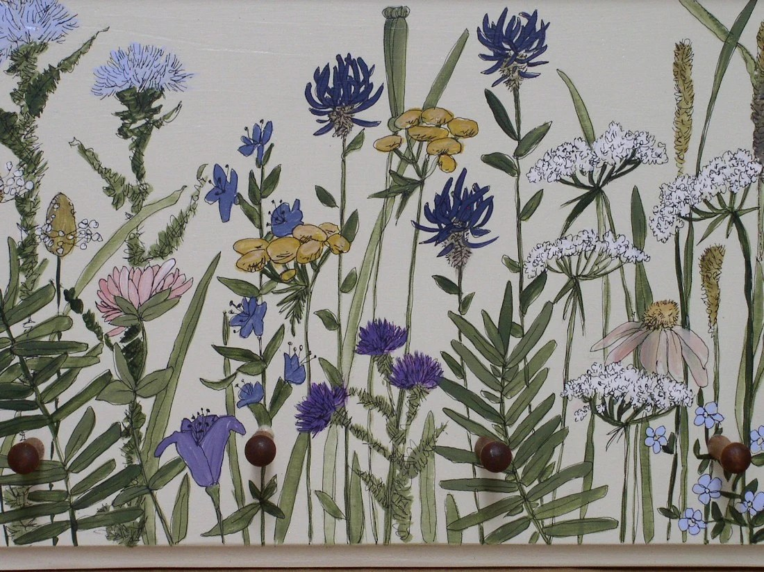 Painted Farmhouse Cottage Wood Peg and Shelf Wildflower Panel Ready to Hang