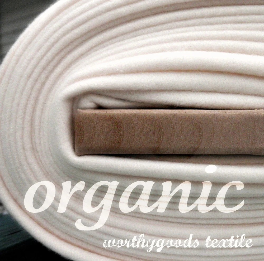 Organic Cotton Fleece on bolt from worthygoods textile on Etsy.com
