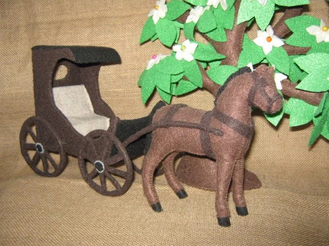 Horse & Buggy, handstitched, in felt