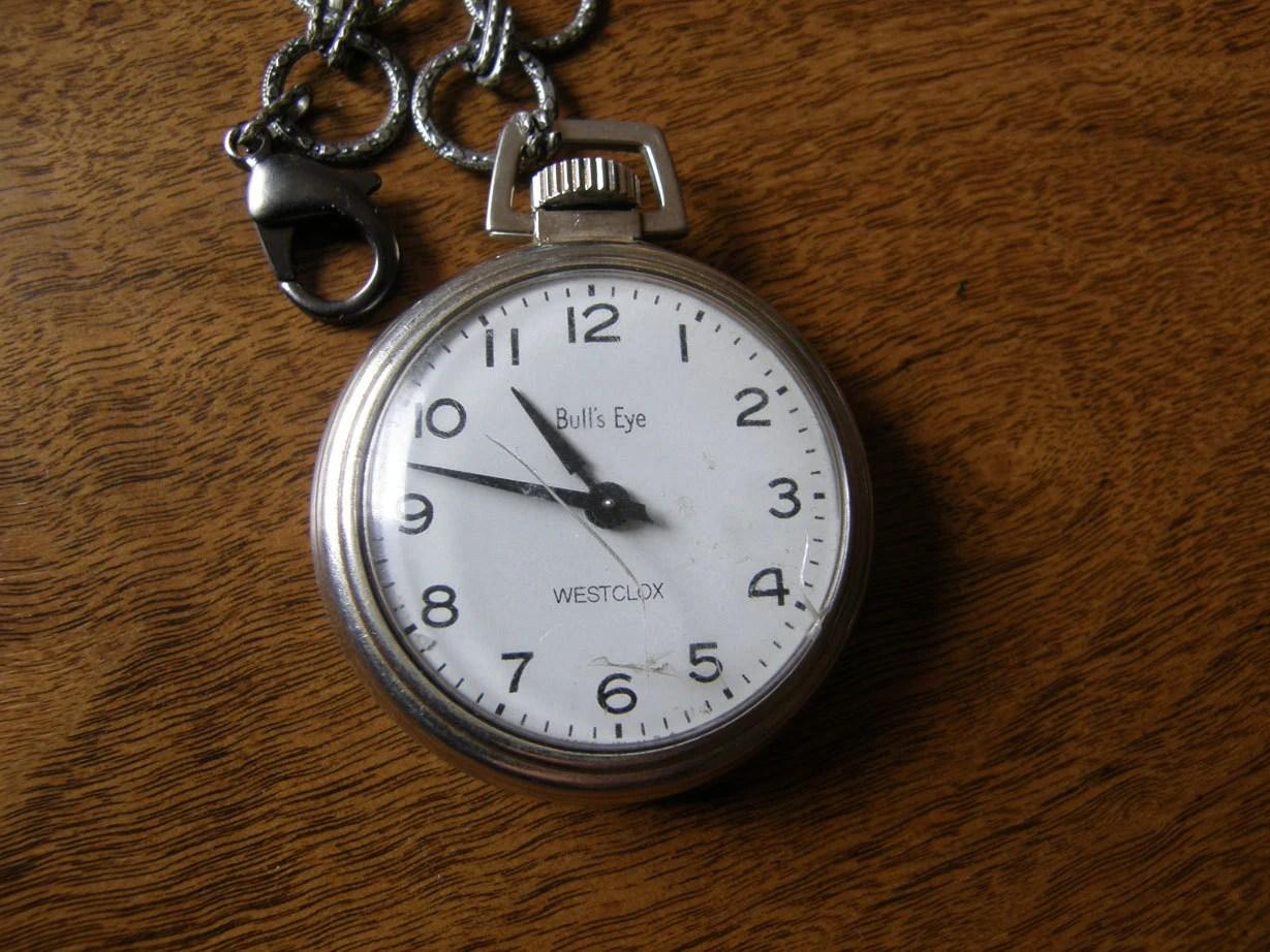 Westclox Bull's Eye pocket watch with chain