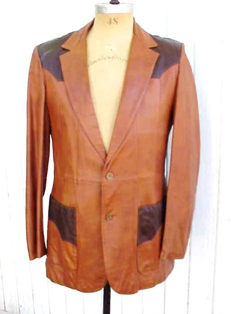 Roundtree Two-Tone Leather Western Blazer