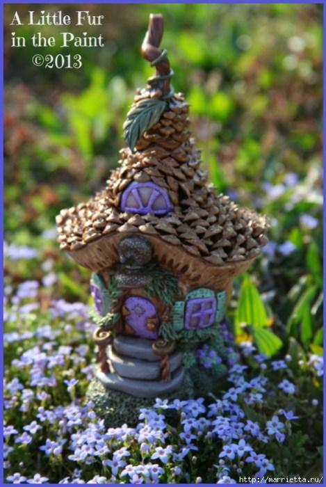 Изумительные сказочные домики из тыквы, полимерной глины и шишек (9) (469x700, 276Kb)