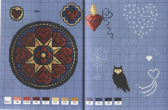 schemes, cross-stitch flowers and hearts