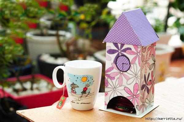 Из картона. Домик для чайных пакетиков. Мастер-класс (13) (600x399, 145Kb)