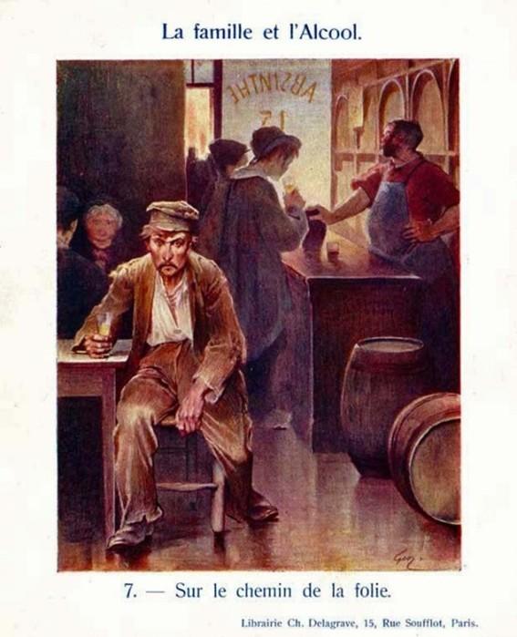 «Семья и алкоголь»   серия старинных французских картинок о разрушающем действии пьянства