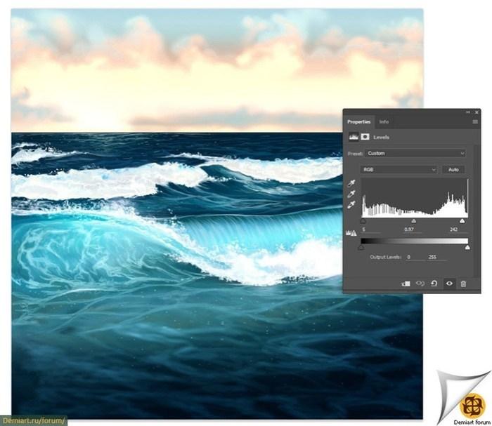 Как нарисовать воду, волны и океан в Фотошоп