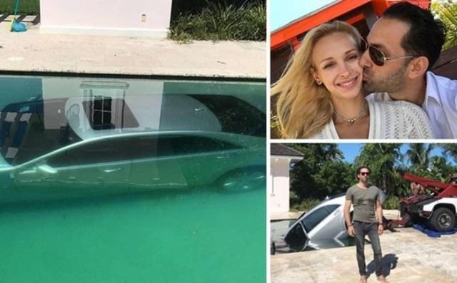 Девушка утопила в бассейне «Мерседес» своего бывшего возлюбленного