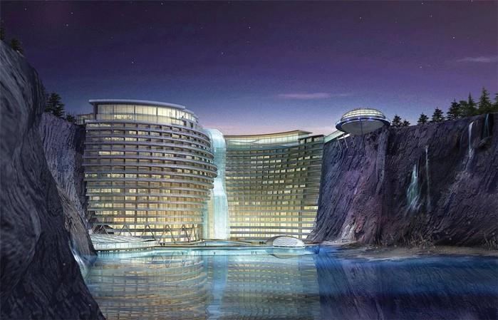 Как заброшенный карьер в Китае превращают в элитный отель