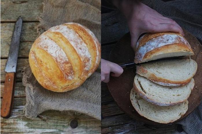 Хлеб без замеса на светлом пиве