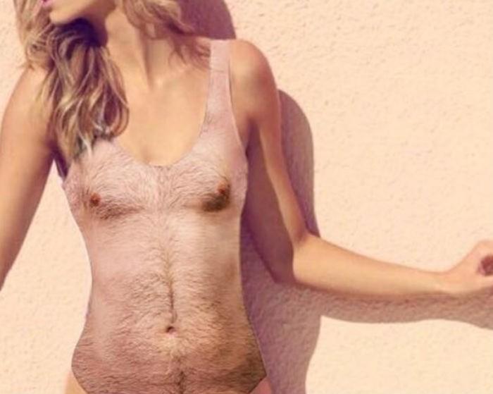 Купальник для девушек с изображением мужской груди