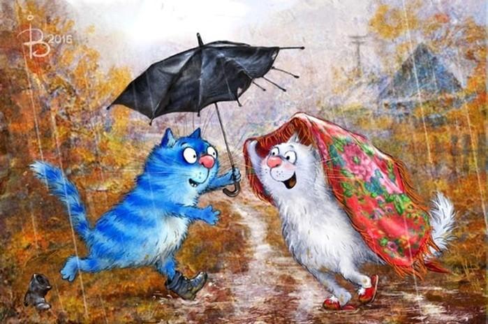 Иллюстрации Рины Зенюк   синие мурлыки от российской художницы