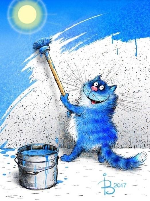 Иллюстрации Рины Зенюк— синие мурлыки от российской художницы