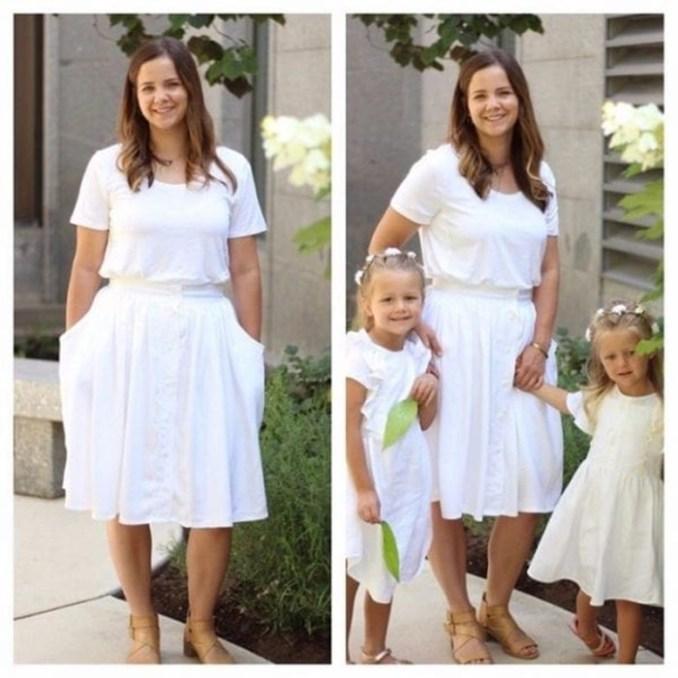 Мама делает стильные платья для дочек из рубашек мужа