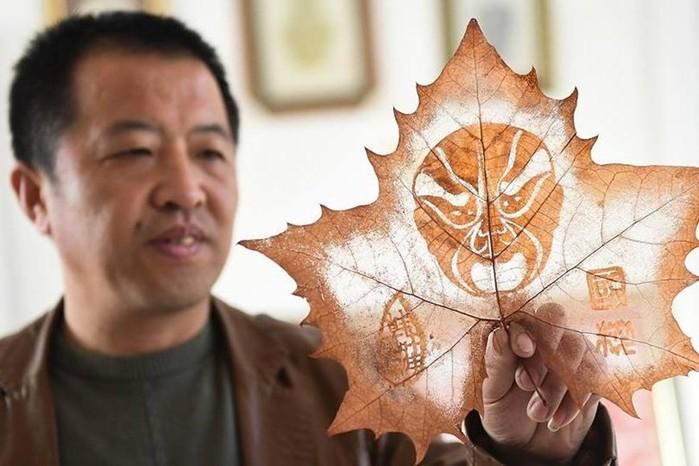 Китайский мастер и его потрясающие картины на опавших листьях
