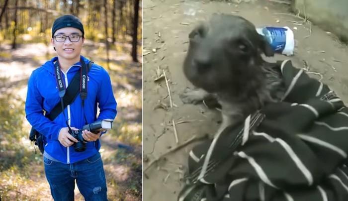 Велосипедист спас щенка, сделав ему искусственное дыхание