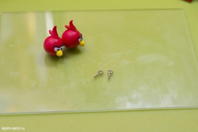 Как сделать сережки Angry Birds из полимерной глины