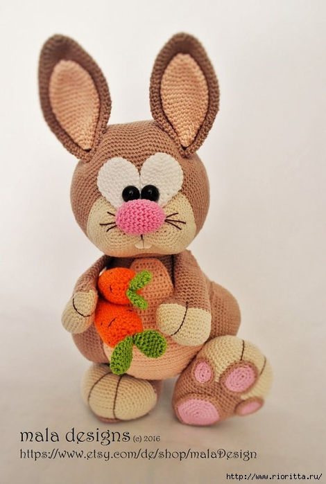 Игрушка Кролик вязаный крючком, кролик крючком