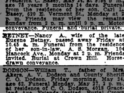 Nancy Bretney funeral The Indianapolis Star 26 May 1918 p25