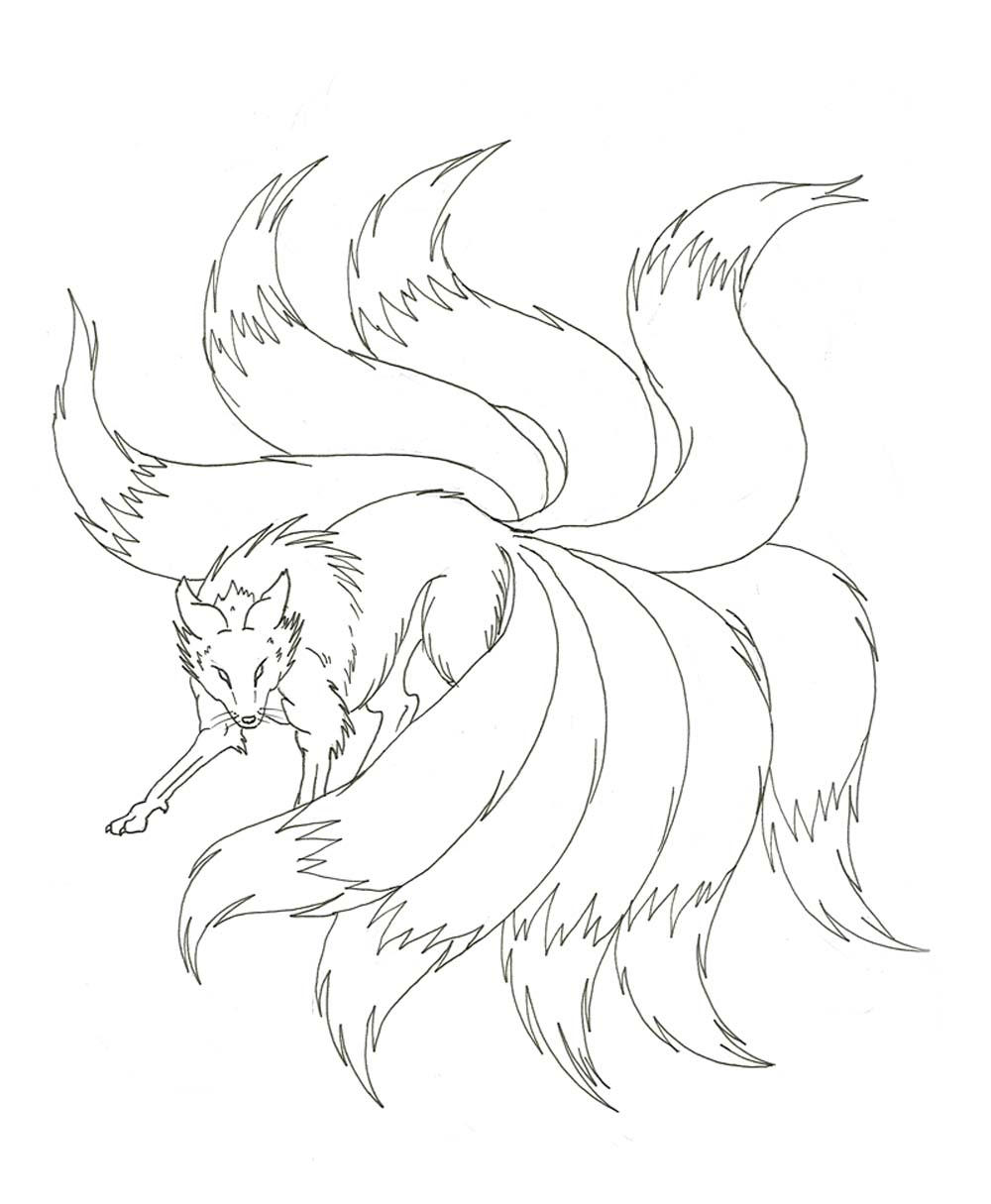 Anime Nine Tailed Fox Coloring Pages Novocom Top