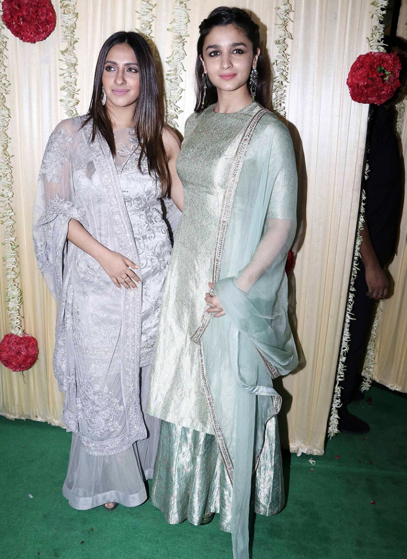 Alia Bhatt poses with her friend during Ekta Kapoor's Diwali party hosted at her residence in Mumbai on October 17, 2017. (Image: Yogen Shah)