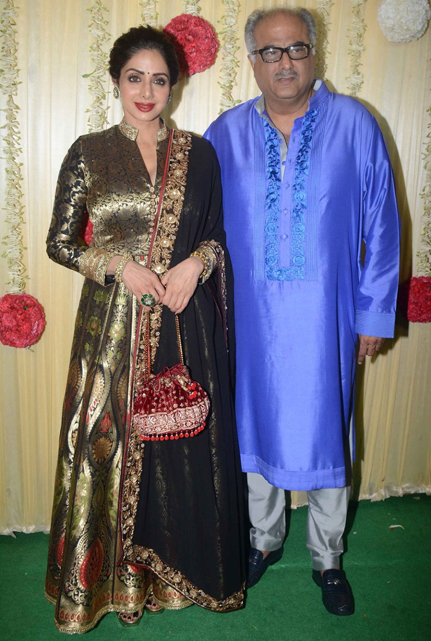 Celebrity couple Sridevi and Boney Kapoor attend Ekta Kapoor's Diwali party hosted at her residence in Mumbai on October 17, 2017. (Image: Yogen Shah)