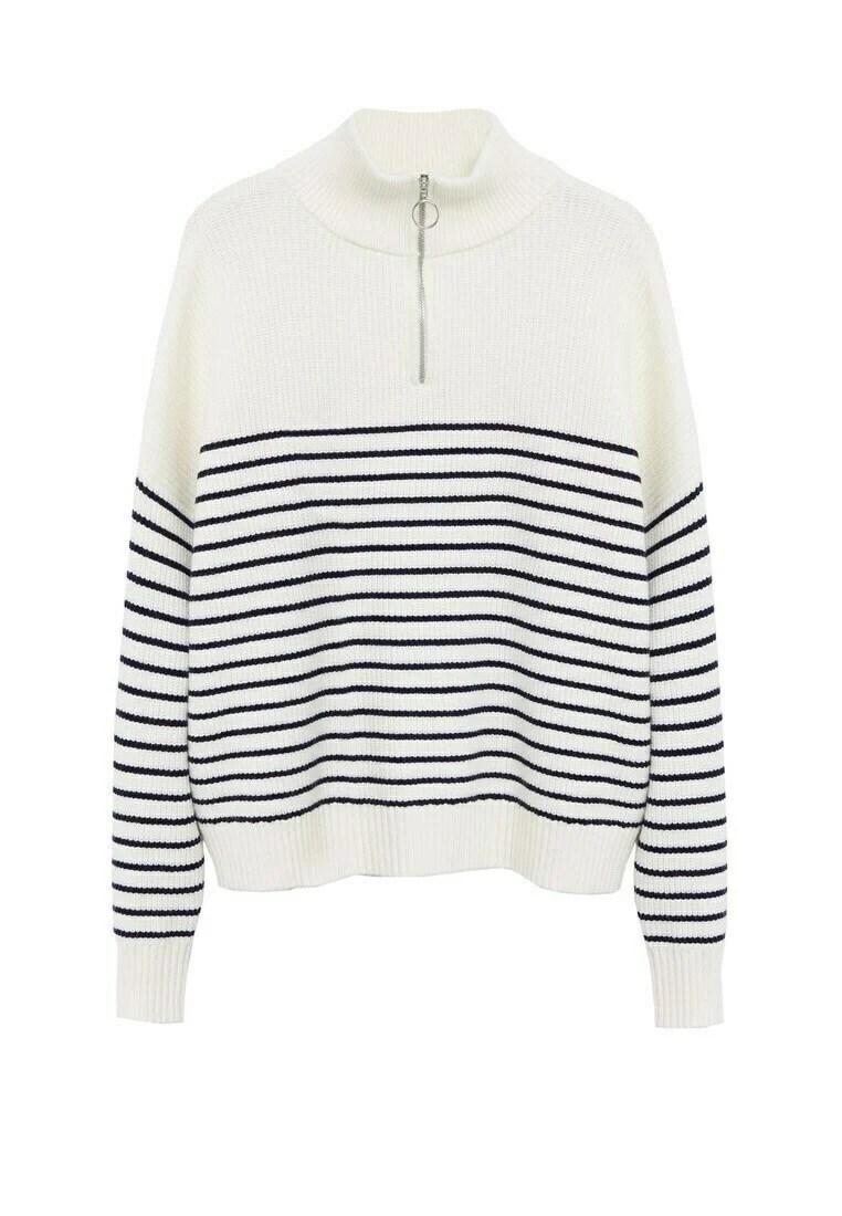 MANGO Striped Zip-Up Sweater