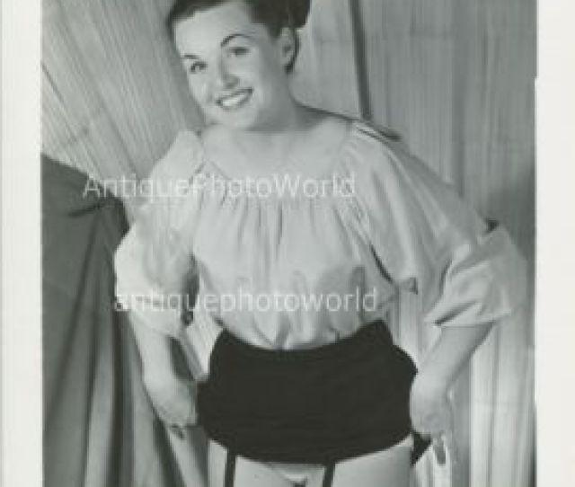 Pretty Young Woman Lifting Skirt Vintage Pin Up Photo