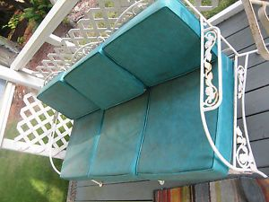 vintage wrought iron patio furniture 2 piece set with cushions