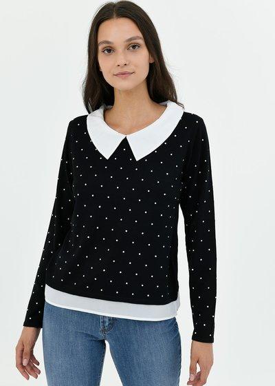 Maglia Marzia due in uno dettaglio borchiette - Black / White Pois - Immagine categoria