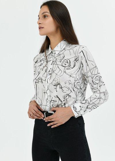 Camicia modello Alessia fantasia - White / Black Fantasia - Immagine categoria