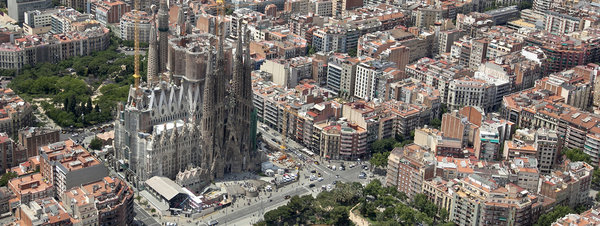 Aerial view of the Sagrada Familia this June-2015