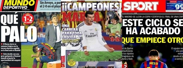 La prensa encumbra a Bale tras la Final de la Copa del Rey 2014