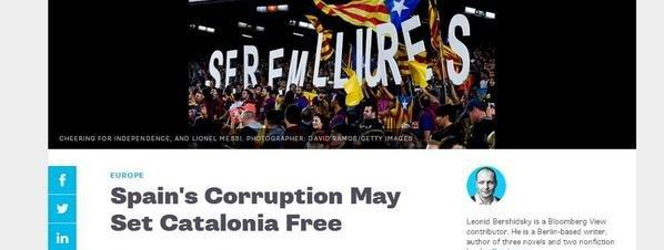 Un article a Bloomberg considera que la corrupció al PP beneficia la independència de Catalunya