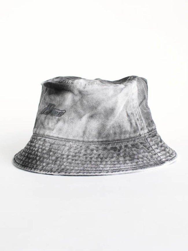 WE11DONE|IRIDESCENT LOGO HANDBLEACHED BUCKET HAT #BLACK [WD-AH8-20-119-U-BK]