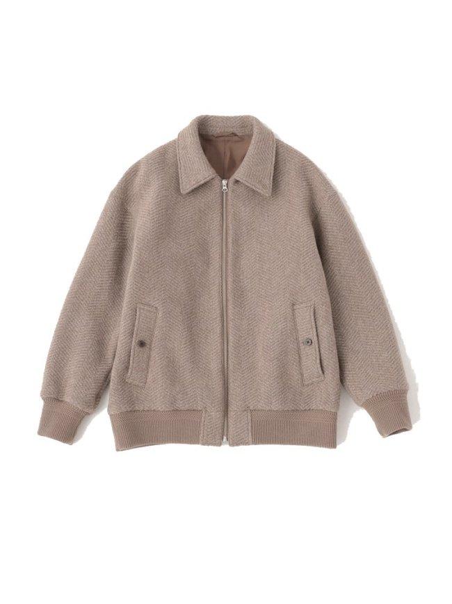 Phlannel|Mix tweed Harrington Bomber Jacket #BEIGE