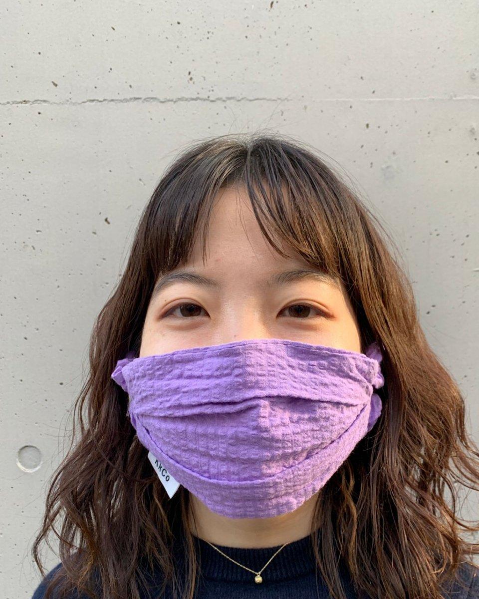 THE SHE オーガニックハンドスプレーとシアサッカーマスクセット パープルの写真
