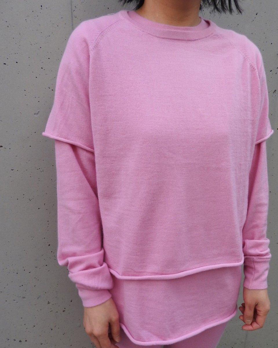 カシミアラグランTシャツ ピンクの写真