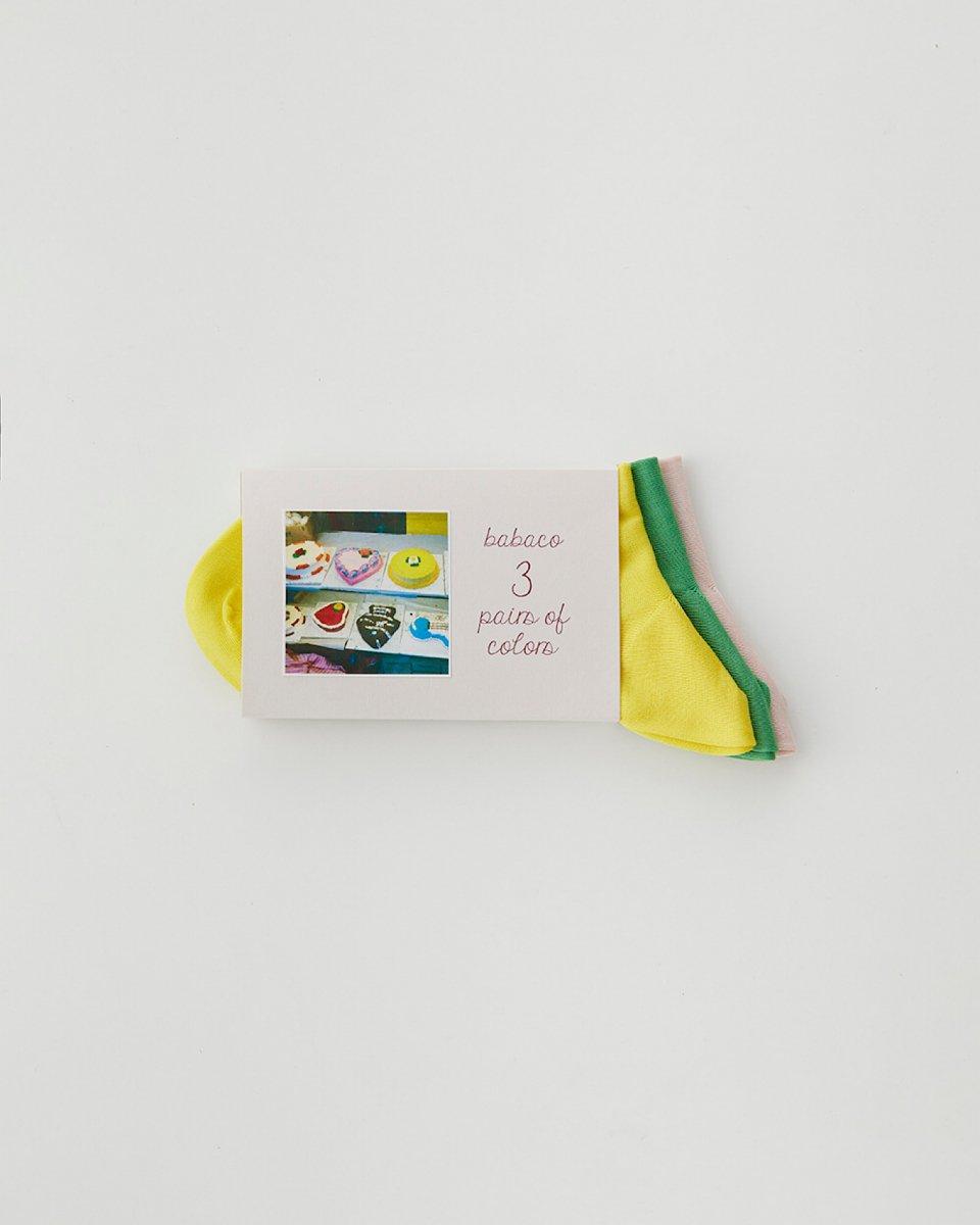 babaco 3色セットソックス ケーキの写真