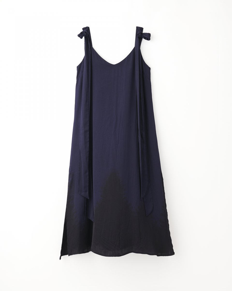 ディップダイスリップドレス ネイビー+ブラック
