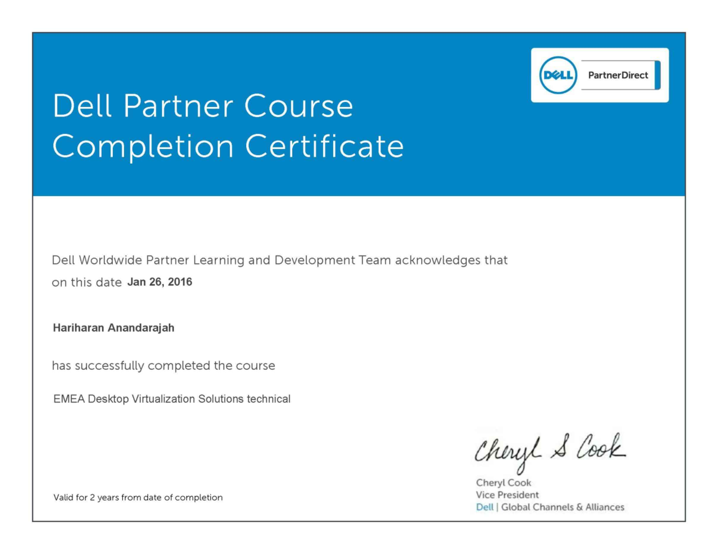 Certified Electronics Technician Dell Certificate