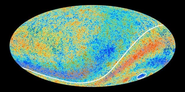 Largest Structure Ever Found is a Really Cold Hole. Image from the Planck telescope shows the Cold Spot, circled.  (ESA and the Planck Collaboration)