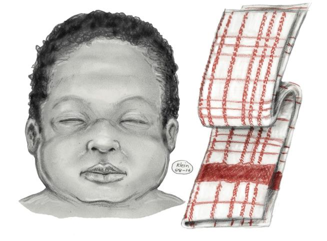 A sketch of Baby Jane Doe and the dishtowel found with her. (NYPD)