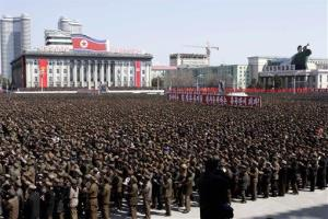 North Koreans gather at a rally at Kim Il Sung Square in downtown Pyongyang, North Korea, Friday, March 29, 2013.