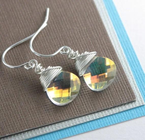 Aurora Borealis AB Swarovski Crystal and Sterling Silver Earrings