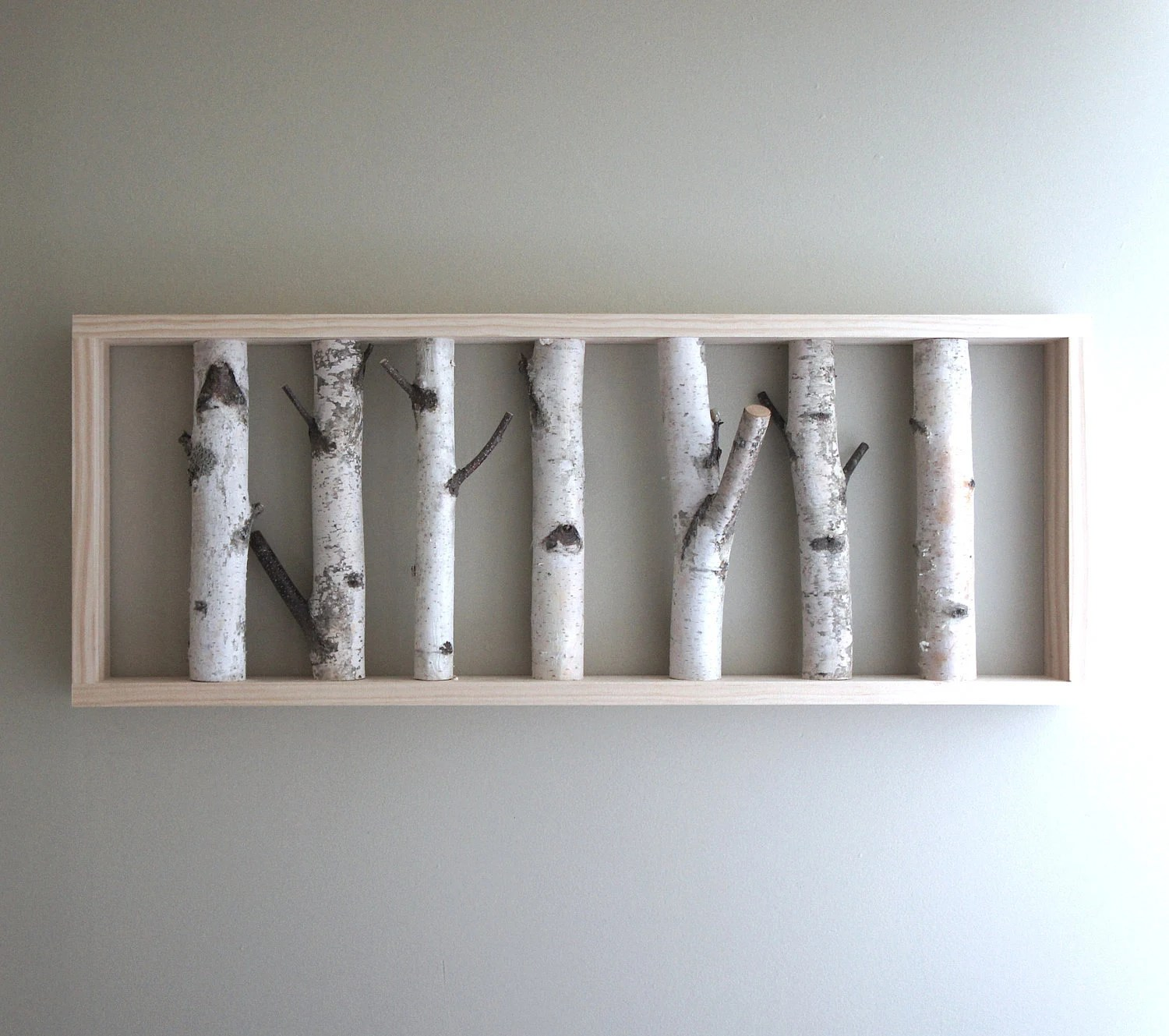 "white birch forest - natural white birch woods wall art - 36"" x 14"""
