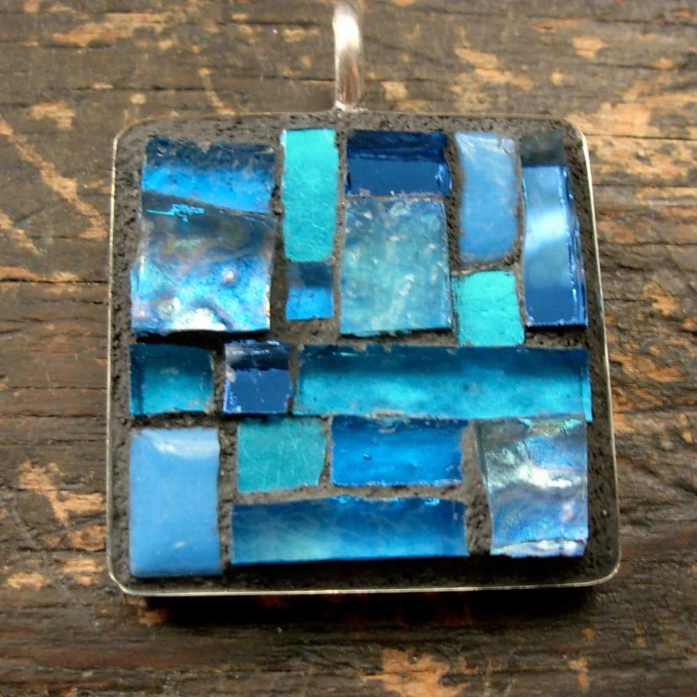 Aqua Blue Square Mosaic Pendant