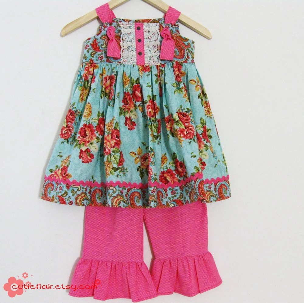 Couture Knot Dress and Ruffled Pants Set Hot Pink and Floral Size 4T