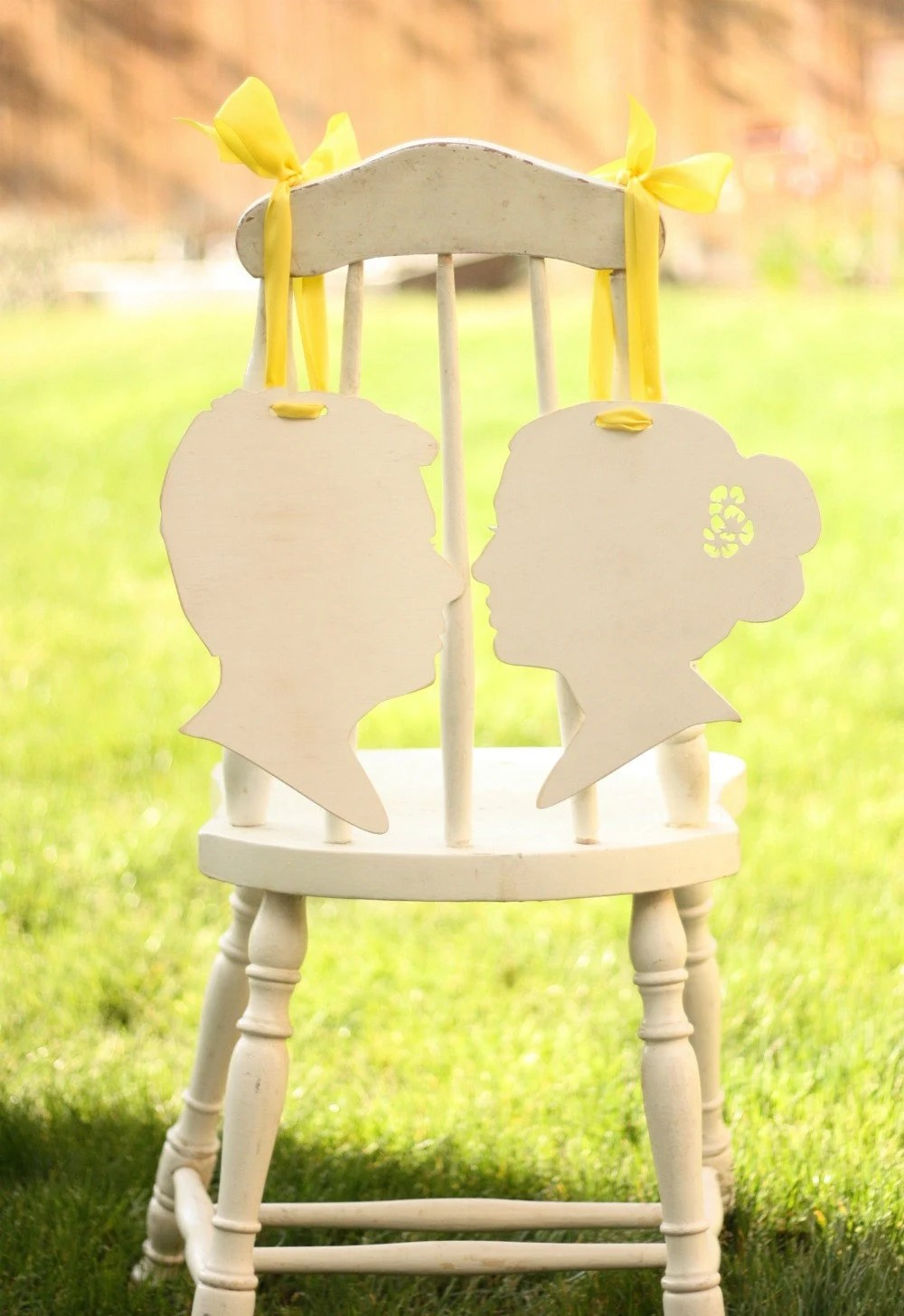 Bride and Groom Chair Hangers - Custom Silhouettes made from your photos by Simply Silhouettes