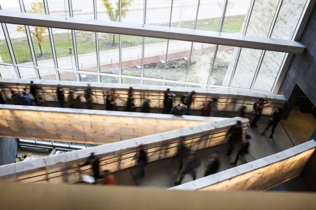 The museum's galleries are connected by a half-mile of glowing, criss-crossing ramps – a literal path of light through the darkness